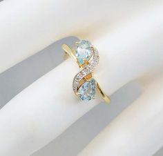 Aquamarine Ring 10K Gold Diamond Ring Size 6 Vintage by boylerpf
