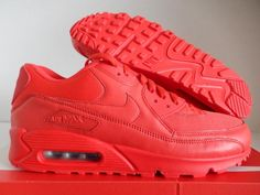 """NIKE AIR MAX 90 iD ALL RED """"RED OCTOBER"""" SZ 10.5 [653533-991]"""