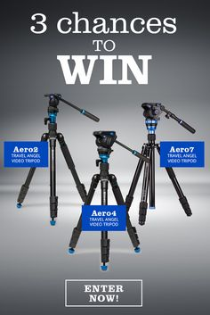 Enter to win 1 of 3 Benro Aero travel video tripods, the perfect solution for on-the-go videographers! Streamline your shoots to make room for more creative possibilities!. Total Prize Value over $1,000! Enter NOW