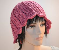 Crochet Rose Hat Natural Fiber Hand Dyed Silk Merino by KnotWyrd, $50.00