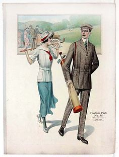 """Title: Fashion Plate from Men's Tailor's Fashion Sample book  Date: 1914  Size: 16""""x22""""    Comments: In the early 20th century men's custom tailors would present large format sample books showing suit design and fabric samples. This a man and a woman on a stylish golf outing, with their bag of clubs."""