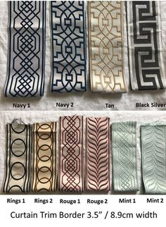fabric tape Drapes with Ribbon Trims, Add Tape TRIM To your Drapes, Curtains, Drapery Banding, upscale designer Velvet Curtains, Drapes Curtains, Valances, Drapery Fabric, Curtain Trim, Drapery Designs, Decorative Tape, Passementerie, Fabric Tape