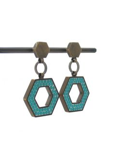 Stone That Flows Teal Drop Earrings