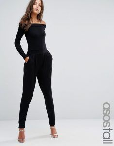 4b91af58c ASOS TALL Bardot Peg Leg Jumpsuit With Long Sleeve - Black. Tall Clothing  at PrettyLong