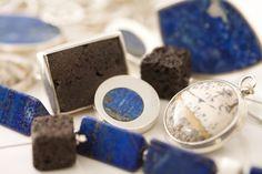 Joyería y piedras chilenas.  Lava y  Laspislazuli,. Tenda Ají, Diseño Imprescindible.  en el Barrio Lasarria
