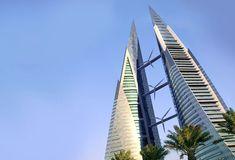 Bahrain World Trade Center's three enormous wind turbine, image by Inhabitat.