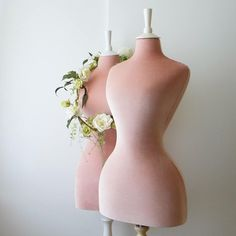 I do love these amazing wasp waisted mannequins and this one is tailored in a delicate pale pink velvet on an ivory stand and top. Available in other colours. Boutique Interior, Uk And Ie Destinations, Pink Velvet Dress, Pink Dress, Homemade Butter, Gifts For Photographers, Practical Gifts, Dress Form, Pink Aesthetic