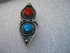 Vintage Sterling Silver Turquoise and Coral Southwestern Ring, Shadowbox, sz 7.5…