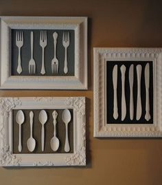 Easy & Creative Decor Ideas - Frames Old Cutlery and White Spray - Click Pic for 38 DIY Home Decor Ideas on a Budget