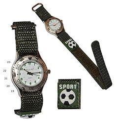 Kinderuhr Fußball mit Klettband / Stoff Armband oliv grün - Uhr Kinder Jungen Sport Armbanduhr Analog - http://uhr.haus/unbekannt/kinderuhr-fussball-mit-klettband-stoff-armband-2