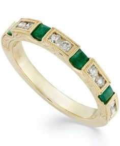 14k Gold Emerald (1/3 ct. t.w.) and Diamond (1/3 ct. t.w.) Alternating Ring