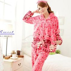 Sweet Princess - Pajama Set: Dotted Fleece Top + Pants