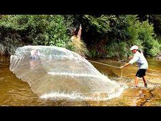 Рыбалка кастинговой сетью закидушкой (Парашут). Удивительная рыбалка. - YouTube