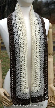 ABC Knitting Patterns - Snowy Evening Bobble Scarf - crochet