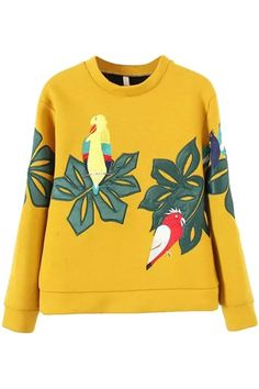 Fashion Embroidered Parrot Print Sweatshirt