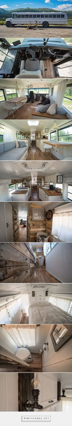 Lovely soft colors and details in your interiors. Latest Home Interior Trends. - Tiny House On Wheels Colors Details Home Interior Interiors Latest Lovely soft Trends Tiny House Blog, Tiny House Living, Tiny House On Wheels, Converted Bus, Bus Living, Casas Containers, Tiny Spaces, Home Interior, Interior Design