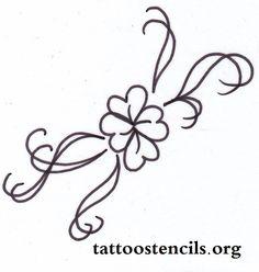 ,four leaf clover tattoo design stencil,free tattoo stencils