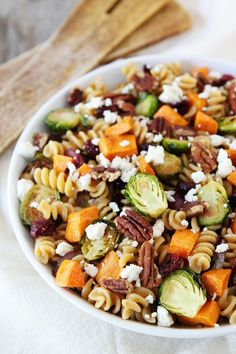 Brown Butter Pasta with Sweet Potatoes and Brussels Sprouts-whole wheat pasta with sweet potatoes, brussels sprouts, dried cranberries, feta cheese, pecans, and a simple brown butter sauce. This is th