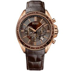 Hugo Boss Rose Gold Men's Watch with Leather Strap