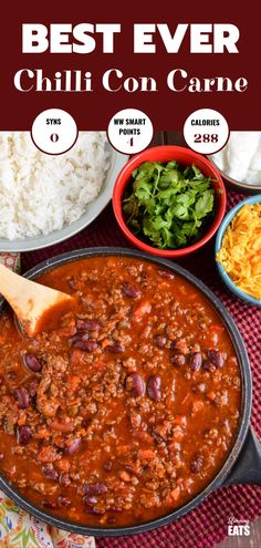 BEST EVER Syn Free Chilli Con Carne - an all time classic family friendly recipe. Pure comfort in a bowl! Gluten Free, Dairy Free, Slimming World and Weight Watchers friendly astuce recette minceur girl world world recipes world snacks Slimming World Chilli, Slimming World Dinners, Slimming World Recipes Syn Free, Slimming Eats, Slimming World Free, Chilli Recipes, Mexican Food Recipes, Beef Recipes, Cooking Recipes