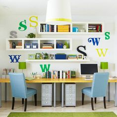Greens and blues and yellows brighten up this office space: http://www.bhg.com/decorating/storage/organization-basics/charming-hardworking-storage/?socsrc=bhgpin011314homeofficeorganization&page=20