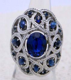VTG CROWN TRIFARI Silver Tone Large Blue Rhinestone Cocktail Ring Size 5.5-6 #CrownTrifari #Cocktail