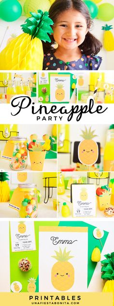 kit imprimible piña verano, textos editables #fiestaverano #fiestapiña #pineappleparty #summerparty
