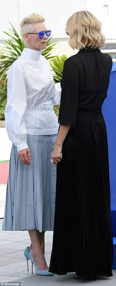 70th Annual Cannes Film Festival photocall 2017 Edgy: British film actress Tilda Swinton, 56, worked a pair of quirky angular blue sunglas...