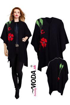 Nadčasové čierne dámske pletené pončo s originálnou aplikáciou Dresses, Fashion, Vestidos, Moda, La Mode, Fasion, Dress, Day Dresses, Gowns