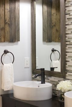 beautiful master bathroom makeover at Jenna Sue Designs glass tile + basin sink + repurposed wood + oiled bronze faucet House, Florida Home, Interior, Pretty Bathrooms, Tile Backsplash Bathroom, Bathroom Makeover, Master Bedroom Bathroom, Bathroom Redo, Master Bathroom Makeover
