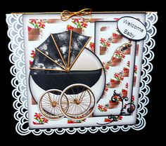 Baby pram  on Craftsuprint designed by Gail Collins - made by Diane Hitchcox - I printed out onto 220 gram card and mounted on a pretty border punched card using double sided tape ,finishing by adding sentiment. - Now available for download!