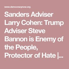 Sanders Adviser Larry Cohen: Trump Adviser Steve Bannon is Enemy of the People, Protector of Hate | Democracy Now!