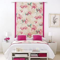 DIFFERENT Texture textiles instead of headboard--don't like the pink.  Renter's Guide to Adding Pattern ...Temporarily