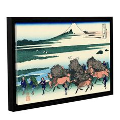 Ono Shindon in the Suraga Province by Katsushika Hokusai Floater Framed Painting Print on Gallery Wrapped Canvas
