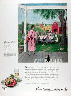 1945 U.S. Beer Brewers Foundation vintage ad. Presenting Harvest Time by Doris Lee. Neighbors sharing the toil and feast of a Kansas harvest. Beer belongs... enjoy it!