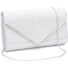 Gesu Shiny Evening Clutch, Envelope Glitter Clutch Purses Wedding... ($17) ❤ liked on Polyvore featuring bags, handbags, clutches, glitter clutches, silver evening bag, party clutches, white evening bag and handbags clutches