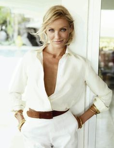 Cameron Diaz -  White blouse and white shorts brown thick belt and wedges