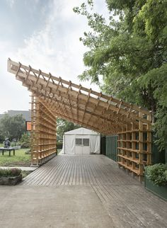 Image 20 of 20 from gallery of Hou de Sousa Completes Construction on Raise/Raze and Sticks. Photograph by Hou de Sousa Detail Architecture, Timber Architecture, Pavilion Architecture, Landscape Architecture, Landscape Design, Pavilion Design, Bamboo Structure, Timber Structure, Pavillion