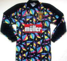 Shirt Kit of Aston Villa goalkeeper Mark Bosnich at Sports Uniforms, Football Uniforms, Football Kits, Football Jerseys, Sports Jerseys, Vintage Football Shirts, Retro Shirts, Arsenal Shirt, Goalkeeper Shirts