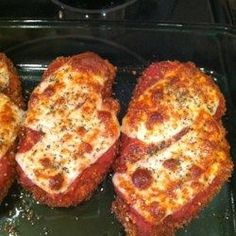 No olive oil or basil. Monterey Jack instead of provolone. Grated mozzarella. Barilla tomato and basil pasta sauce.