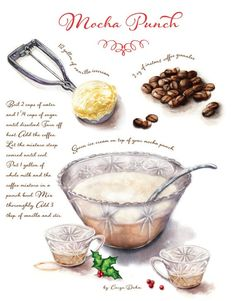 Custom recipe art created for your favorite family recipes - Comes with 8 prints Mocha Punch Recipe, Recipe Drawing, Coctails Recipes, Culinary Arts, Food Illustrations, Family Meals, Family Recipes, Recipe Cards, Food Art