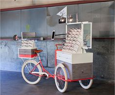 Specs on Wheels – a pop-up boutique, custom engineered to fit on a cargo bike, and cleverly designed to merchandise Rivet & Sway frames in Seattle, WA, beauty salons.
