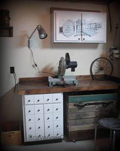 Awesome industrial vintage workroom makeover.