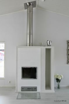 Coconut White - White Uunisepät Tunturi fireplace White White, Furnitures, Fireplaces, About Me Blog, Coconut, Interiors, Inspiration, Home Decor, Fireplace Set