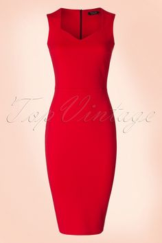 """Sexy or classy, this 50s Veronica Pencil Dress is both! Wow, such a beauty! This vintage inspired beauty features an elegant diamond shaped neckline and kisses your curves for a sexy silhouette, oh la la. Made from a supple and stretchy lipstick red fabric that's a dream to wear. Veronica is super versatile and therefore a real must-have for every woman! Diamond shaped neckline Lined top Hidden zipper at the back Hits below the knee with a height of 1.70m / 5'7"""""""