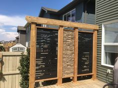 HideAway screen privacy wall Dash HideAway privacy wall, built into timbers. Privacy Wall On Deck, Hot Tub Privacy, Privacy Fence Designs, Garden Privacy, Privacy Screen Outdoor, Backyard Privacy, Deck Privacy Screens, Privacy Fences, Fencing