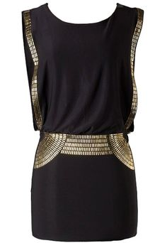 Egyptian Metal Dress: Features mock open sides highlighted by glistening gold metal pieces, elasticized waist for a custom fit, extra metallic trim decorating the front skirt, and a solid black backside to finish. Kohls Dresses, Sexy Dresses, Cute Dresses, Short Dresses, Party Dresses, Egyptian Fashion, Vestido Dress, Embellished Shorts, Creation Couture