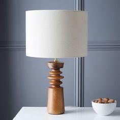 on desk in sunroom. Turned Wood Table Lamp - Medium