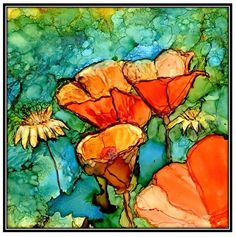 Decoupage Print of Alcohol Ink painting on Ceramic Tile - one 6x6 Tile/ Trivet - Alcohol Inks- Decorative Tile- Orange Poppies- Flowers