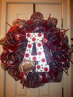 Bling Arkansas Razorback Wreath by GlitzyGirlDesigns on Etsy